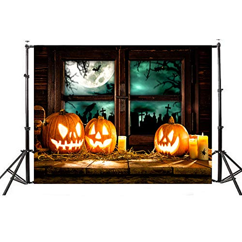 Photography Background, Elevin(TM) Halloween Backdrops Pumpkin Vinyl 5x3FT Lantern Background Photography Studio (F) ()