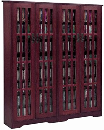 High Quality Leslie Dame M 954DC High Capacity Inlaid Glass Mission Style Multimedia  Storage Cabinet,