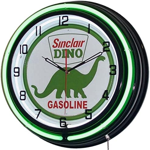 Sinclair Dino 18 Double Neon Lighted Clock Gasoline Fuel Pump Oil Sign Green Black
