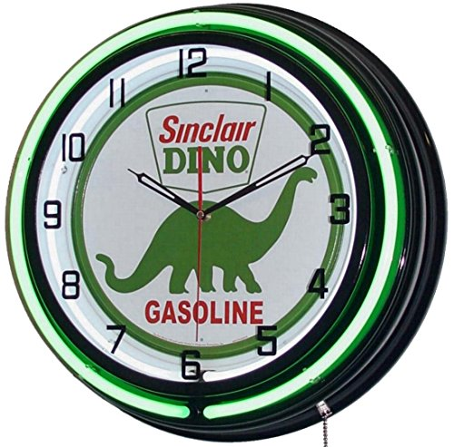 "Sinclair Dino 18"" Double Neon Lighted Clock Gasoline Fuel..."
