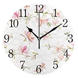 SUABO Wall Clock Arabic Numerals Design Beautiful Pink Floral Round Wall Clock for Living Room Bathroom Home Decorative