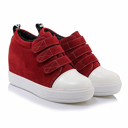 Carolbar Womens Platform Populaire Nubuck Hook-and-loop Wedges Sneakers Rood