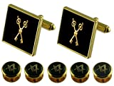 Treasurer Gold Cufflinks Masonic 5 Shirt Dress Studs Box Set