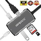 IBROCC USB C Hub, 6 in 1 Aluminum Multi Port Adapter Type C Combo Hub for MacBook Pro USB C Hub to HDMI (4K), Support 4K UHD, Samsung S8/S8P