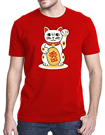 Maneki-Neko Japanese Beckoning Welcoming Lucky Cat T-Shirt, Small, Red