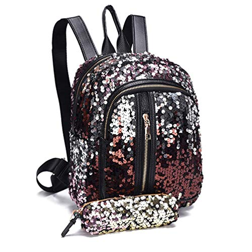 For Women Pencil Bag Teen PU Leather Bling Sequins Lightweight Red Satchel Backpack Travel Javpoo Backpack Case School Girls wqUaOCx