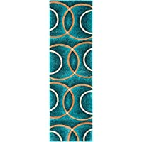 Well Woven Circo Turquoise Blue Modern Geometric Rings Circles Lines Hand Carved Modern 3 x 10 (27 x 10 Runner) Area Rug Easy to Clean Stain Fade Resistant Contemporary Thick Soft Plush