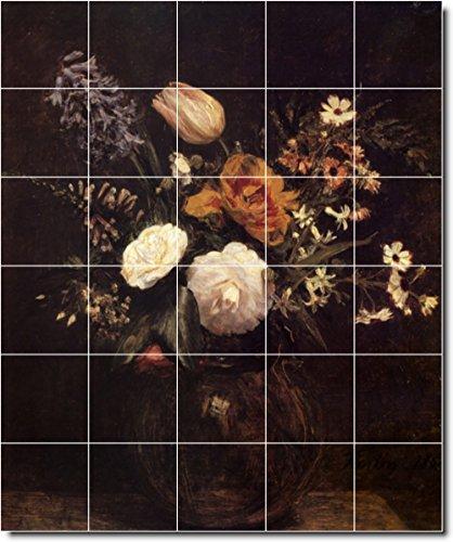 Ceramic Tile Mural-Henri Fantin-Latour Flowers Painting 123. 21.25