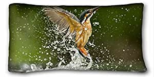 Custom Characteristic ( Animal Kingfisher ) Custom Zippered Pillow Case 20x36 inches(one sides) from Surprise you suitable for Queen-bed PC-Red-18502