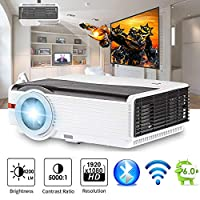 "200"" LCD LED HD Android6.0 Projector WiFi Bluetooth 4200 Lumen WXGA, Multimedia Home Cinema Theater Video Projector 1080P HDMI VGA USB SD AV TV for Movie TV Video Game Home Outdoor Entertainment"