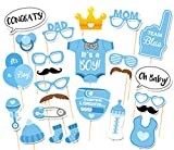 Rainlemon(TM) It Is A Boy Baby Shower Birthday Party Gender Reveal Photo Booth Props Set Blue on A Stick -25 count