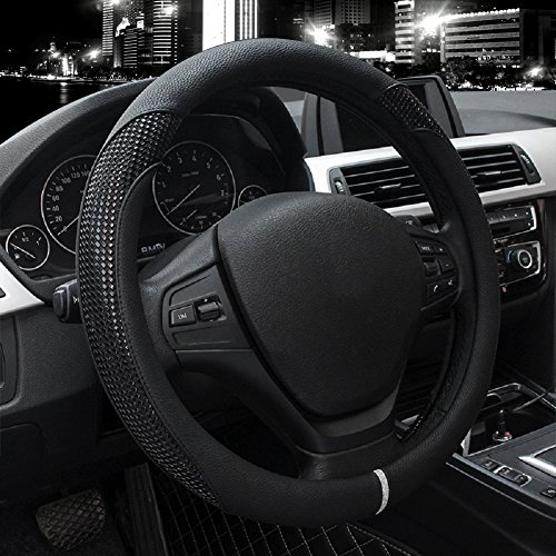 Valleycomfy Car Steering Wheel Cover - Genuine Leather, Universal 15 Inch- Breathable, Anti Slip & Odor Free (Style2-Black)