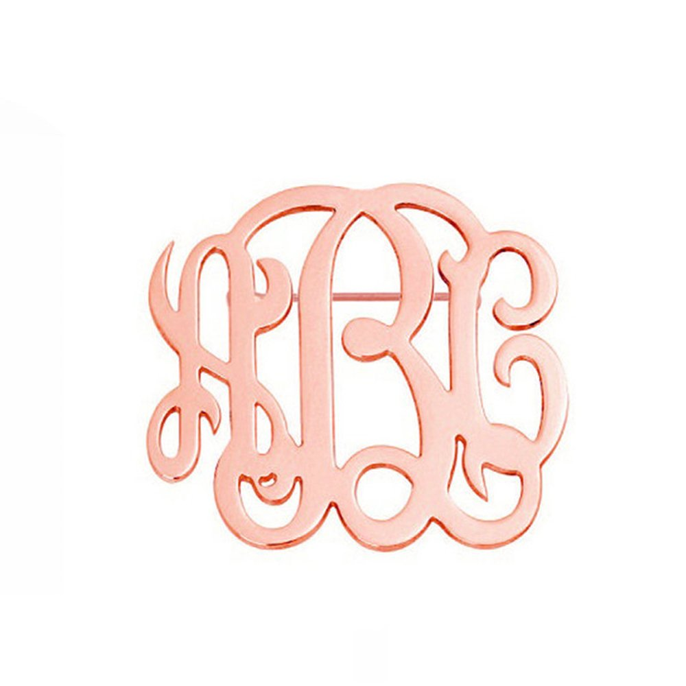 Stan-Deed Personalized Custom 3 letters Monogram Brooch Pins Customized Made with Any Inital Fashion Jewelry Suit Logo Label Pin (Rose Gold)