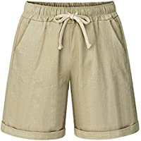HOW'ON Women's Elastic Waist Casual Comfy Cotton Linen Beach Shorts with Drawstring
