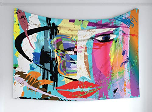 Ambesonne Abstract Tapestry, Woman Face Art Composition with Paint Strokes and Splashes Eye Red Lips Grungy, Fabric Wall Hanging Decor for Bedroom Living Room Dorm, 90 W X 60 L Inches, Multicolor