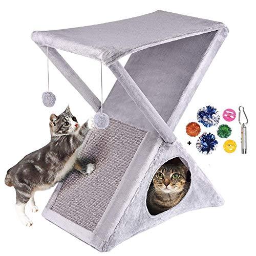 Ruff 'n Ruffus Foldable Cat Tower Tree + Free Bonus Handheld Chase Toy + 6 Cat Toys | Plush Folding House with Hammock…