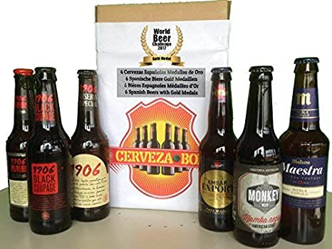 Cerveza Box - 6 Mejores Cervezas Españolas Ganadoras World Challenge Beer, Estrella Galicia 1906 Reserva Especial, Red Vintage, Black Coupage, Ambar Export, Mahou Maestra, Mamba Negra: Amazon.es: Electrónica