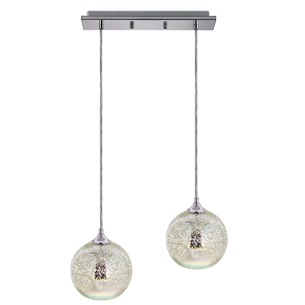SereneLife家庭用照明器具 - 2 7.87インチの円形球形ドーム型グローブ、彫刻が施されたガラスのアクセント、長さとねじ込み式の電球ソケットが付いている二重吊り下げ式ランプシーリングライト(SLLMP22)  B077733NDJ