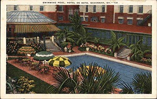 Hotel De Soto - Swimming Pool Savannah, Georgia Original Vintage Postcard