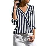 Blouses For Women,Clearance Sale!! Farjing Women Striped Long Sleeve Irregular Work Office Blouse Top Tee Shirt(M,Blue)