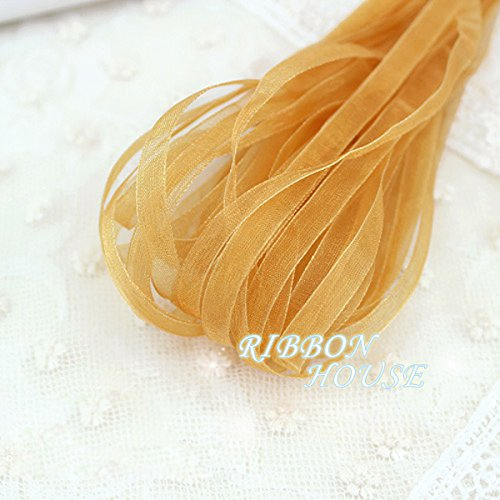 FunnyPicker (10 Meters) 1/4'' (6Mm) Valley Yellow Organza Ribbons Wholesale Wedding Gift Wrapping Christmas (Valley Candle Holder)