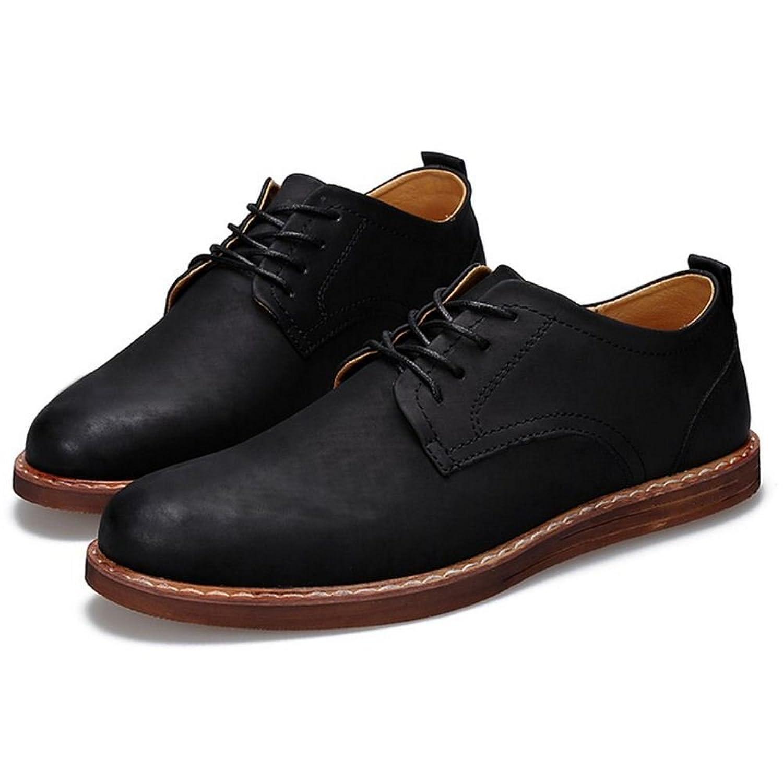 COOLCEPT Herren Casual Schnurung Flach Brogue Schuhe (42 EU, Black)