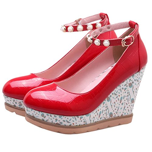 AIYOUMEI Lack High Heels Plateau Pumps mit Keilabsatz und Perlen Keilpumps Damen Rot