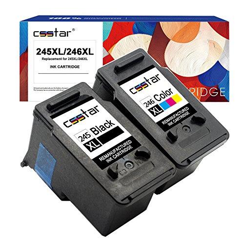 CSSTAR Remanufactured Ink Cartridge Replacement for Canon PG-245XL CL-246XL 245 246 XL Use in PIXMA MG2522 MX492 MX490 MG2520 MG2922 MG2920 iP2820 MG3020 MG2525 MG2420 Printer - Black & Tri-Color