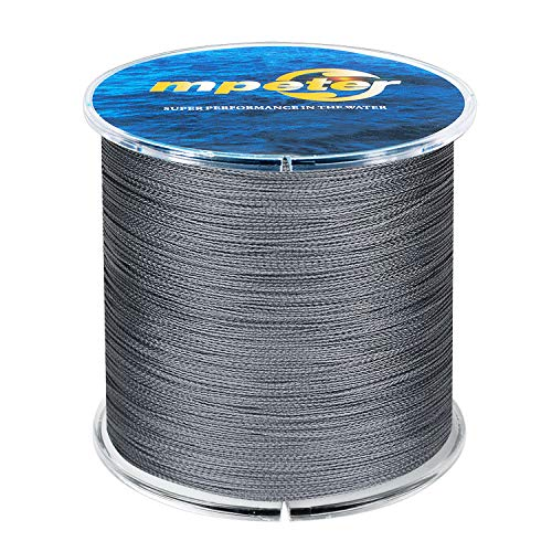 mpeter Armor Braided Fishing Line, Abrasion Resistant Braided Lines, High Sensitivity and Zero Stretch, 4 Strands to 8 Strands with Smaller Diameter,grey,547-Yard/80LB