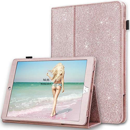 iPad Pro 10.5 Case, Karidge Glitter Bling Premium PU Leather Folding Slim Cover with Auto Wake/Sleep Viewing Angles Stand Pencil Holder Hand Strap Case for iPad Pro 10.5 inch 2017 Case, Rose Gold