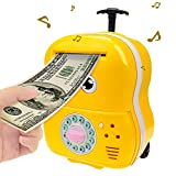 Jhua Cartoon Money Bank Electronic Password Piggy Bank Cash Coin Can Safe Saving Box ATM Bank with Music, Eyes Blink, Trolley Money Box Gift for Kids (Yellow)