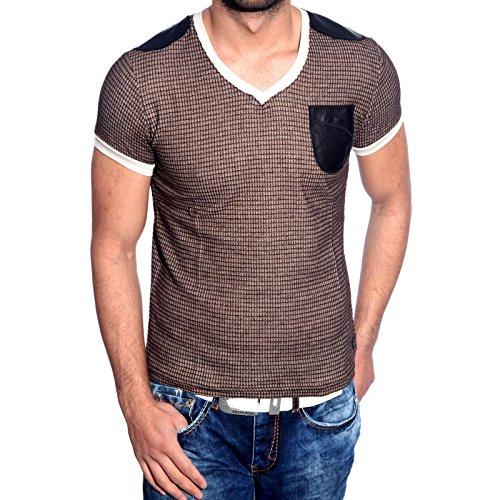 Herren T-Shirt V Neck Schwarz Blau Schwarz Braun SMLXLXXL Kurzarm Kontrast 6684, Größe:M, Farbe:Braun