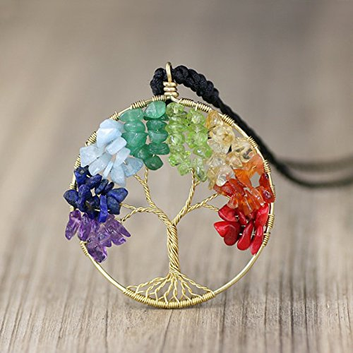 NewDreamWorld Rainbow Tree of Life Necklace with Cotton Cord Chain - Amethyst/Peridot/Lapis/Aquamarine/Green Agate/Citrine/Carneline/Red Coral -
