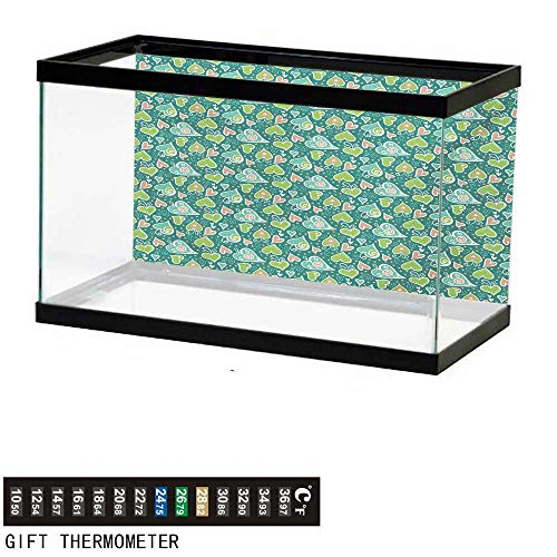 wwwhsl Aquarium Background,Valentines,Abstract Hearts with Scroll Inspired Childish Design and Dots,Apple and Jade Green Peach Fish Tank Backdrop 48