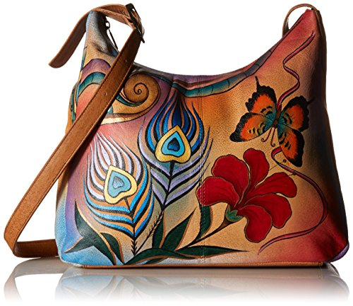 Anna by Anuschka Genuine Leather Hobo Shoulder Bag | Hand Painted Original Artwork | Peacock Butterfly