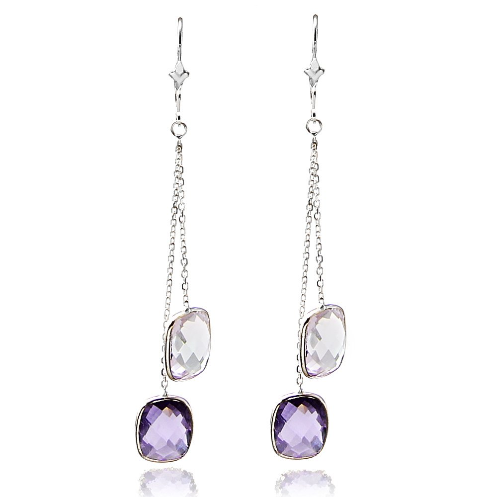14k White Gold Chandelier Gemstones Earrings with Cushion Cut Amethyst Stations