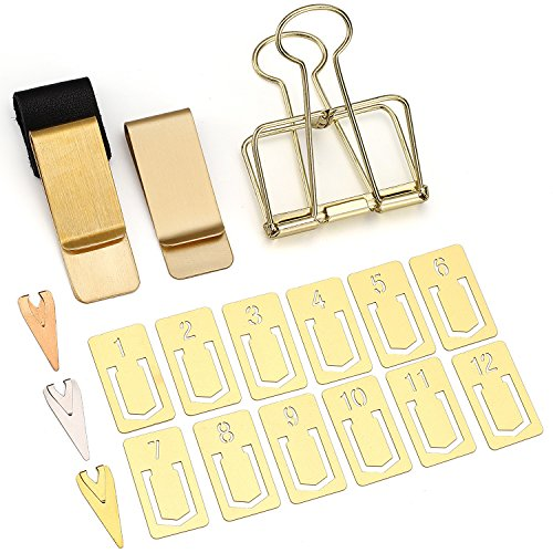 Bookmark Pack - Page Markers (12) + Arrow Line Markers (3) + Book Placeholder Bookmark Clip (1) (Line Book Holder)