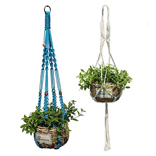 Ropesart 2 Different Pcs Garden Plant Holder Bule and White Brightening Macrame Pot Hanger Durable Deco Nursery Production