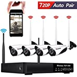 Wireless Security Camera System, CANAVIS 720P HD CCTV Wireless Wifi Network Security Camera System Live Video Recorder NVR Indoor Outdoor Weatherproof Night Vision Cameras, No HDD Included