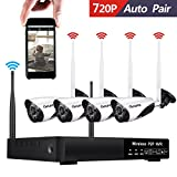 Wireless Security Camera System, CANAVIS 720P HD CCTV Wireless Wifi Network Security Camera System Live Video Recorder NVR Indoor Outdoor Weatherproof Night Vision Cameras, No HDD Included Review