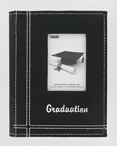 Pioneer Photo Albums 36-Pocket Sewn Leatherette Embroidered Graduation Theme Frame Cover Album for 4 by 6-Inch Prints, Black -