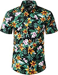 cd63fb82c Men's Cotton Button Down Short Sleeve Hawaiian Shirt