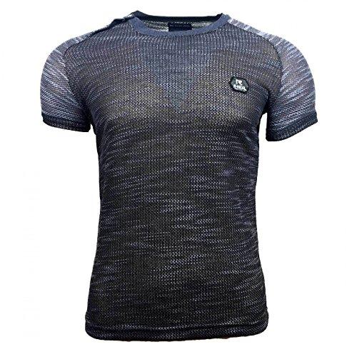 Vintage T-Shirt SMXXL Batik Style Kurzarm Luftig Herren T-Shirt Polo A16669, Größe:M, Farbe:Schwarz