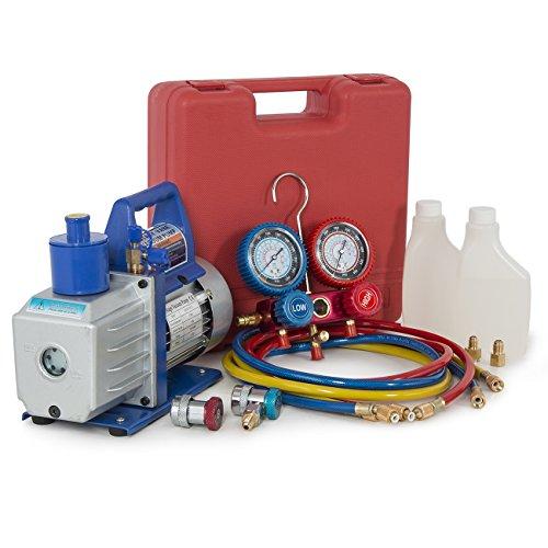 ARKSEN 1/2HP Vacuum Pump, Dual Gauge A/C R134a Diagnostic Te