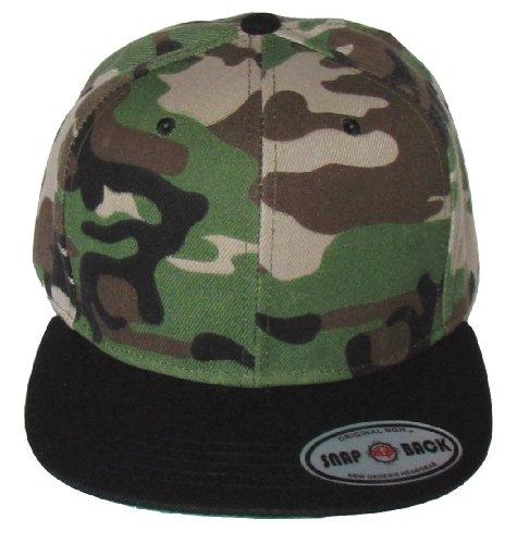 Kid's Youth Flat Bill Snapback Hat - Hip Hop Baseball Cap (Green Camo/Black)