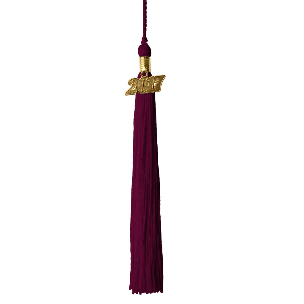 Maroon Graduation Tassels with Gold 2017 Charm