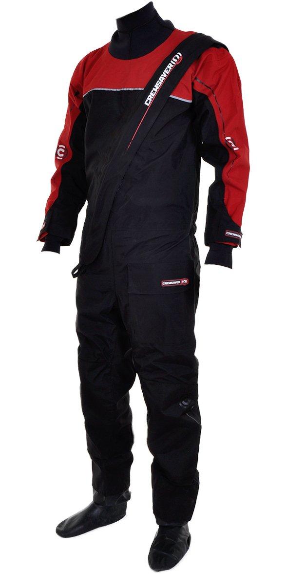 Crewsaver 6515 Cirrus - Traje seco de submarinismo (con forro térmico, bolsa estanca incluida), color negro y rojo