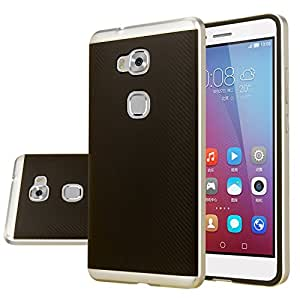 Huawei Honor 5X Case, Aomax® Armor [Dual Bumper] Slim Fit Skin Silicone Case + PC Bumper Frame+ Metallized Buttons For Huawei Honor 5X (DHF Silver)