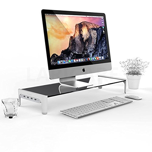 DOLDOA Tempered Glass Computer Monitor Stand with 4 USB Ports,Custom Size Monitor Riser/Computer Stand/PC Desk Stand, for TV Screen Shelf,Sturdy Platform,Keyboard Storage and Mult (White)