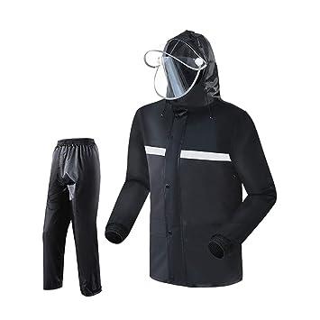 LYP-Rainwear Rainsuit Reflectante de Forro + Pants de Lluvia Adultos Impermeable a Prueba de Viento al Aire Libre con Capucha Trabajo Motocicleta Golf Pesca ...